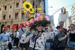 Francine Feaz of Queens models her sunflower bonnet during the annual Easter Parade and Easter Bonnet Festival on the Fifth Avenue in New York on April 16, 2017. (Photo: Gordon Donovan/Yahoo News)