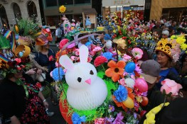 Easter Sunday was marked by the annual Bonnet Parade in midtown, filling Fifth Avenue with hundreds of colorful hats & costumes on April 16, 2017. (Photo: Gordon Donovan/Yahoo News)
