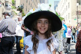 Ace from Manhattan shows off her floral bonnet complete with flowers and birds during the annual Easter Parade on the Fifth Avenue in New York on April 16, 2017. (Photo: Gordon Donovan/Yahoo News)