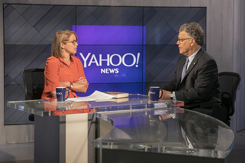 Yahoo Global News Anchor Katie Couric interviews Sen. Al Franken at the Yahoo Studios in New York City on June 1, 2017. (Gordon Donovan/Yahoo News)