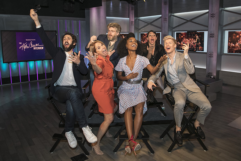 """Yahoo Global News Anchor Katie Couric strikes a pose with the cast and crew of """"Natasha, Pierre & the Great Comet of 1812"""" at Yahoo Studios in New York City on June 1, 2017. Top from left, composer Dave Malloy and director Rachel Chavkin; bottom, from left, Josh Groban, Katie Couric, Denée Benton and Lucas Steele. (Gordon Donovan/Yahoo News)"""