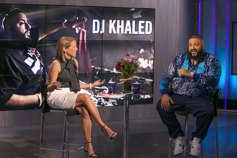Yahoo Global News Anchor Katie Couric interviews recording artist, producer and radio personality DJ Khaled at the Yahoo Studios in New York City on June 13, 2017. (Gordon Donovan/Yahoo News)