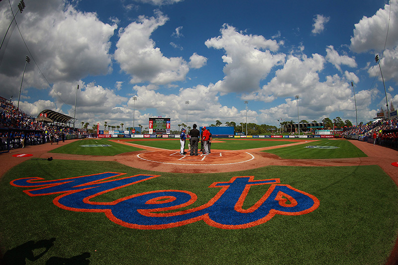 Washington Nationals manager Dusty Baker exchanges lineup cards with New York Mets manager Terry Collins at home plate before the Spring Training baseball game at First Data Field in Port St. Lucie, Fl., Saturday, Feb 25, 2017. (Gordon Donovan/Yahoo Sports)