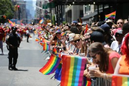 People wave rainbow flags during the N.Y.C. Pride Parade in New York on June 25, 2017. (Photo: Gordon Donovan/Yahoo News)