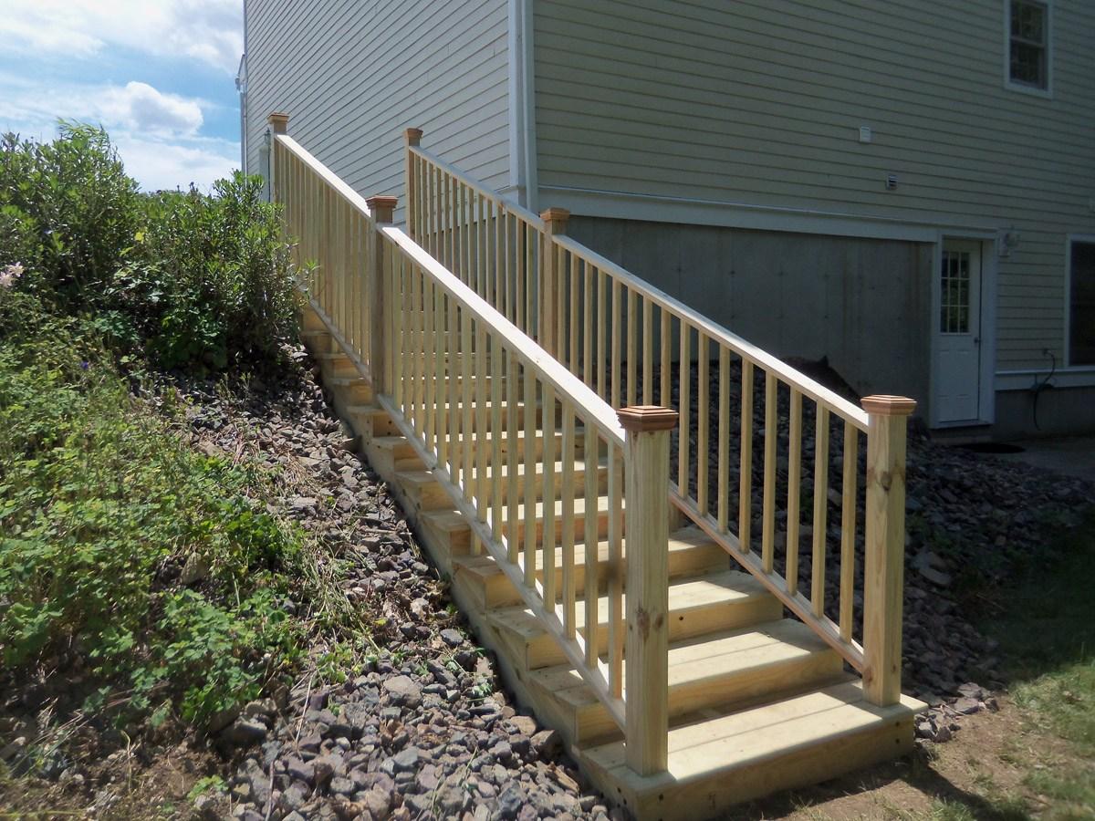 Pressure Treated Landscape Stairs – Gordon Harris | Pressure Treated Stair Treads | Wide | 3 Ft | Picture Frame | Glue Block | Deck