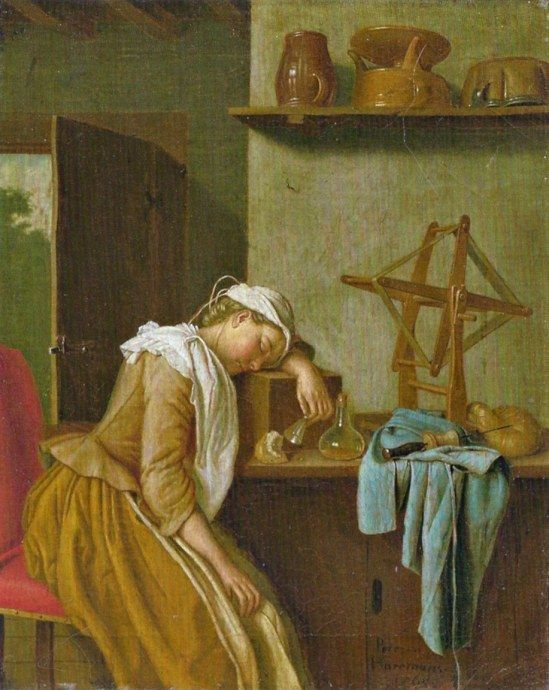 The Sleeping Kitchen Maid by Peter Jakob Horemans 1765