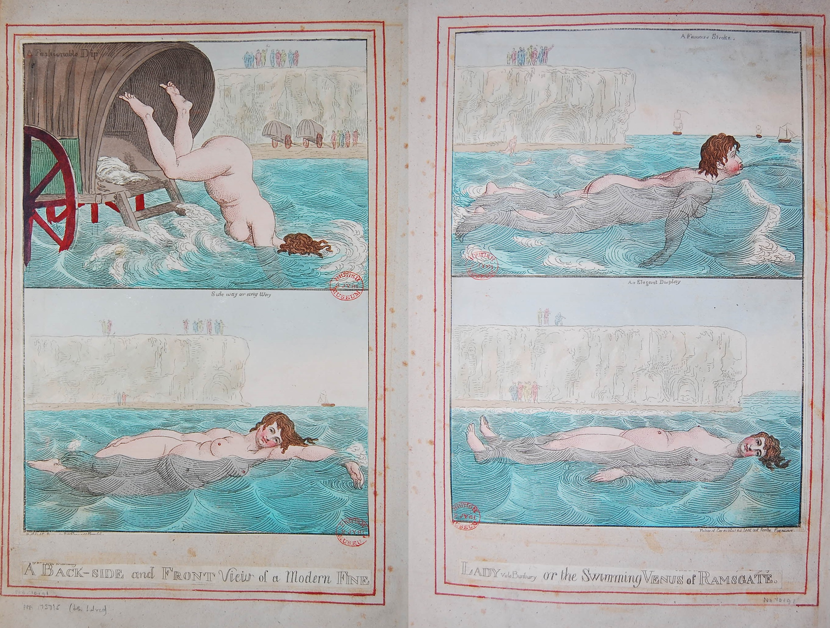 A Back-side and Front view of a modern fine lady vide Bunbury or the Swimming Venus of Ramsgate 1