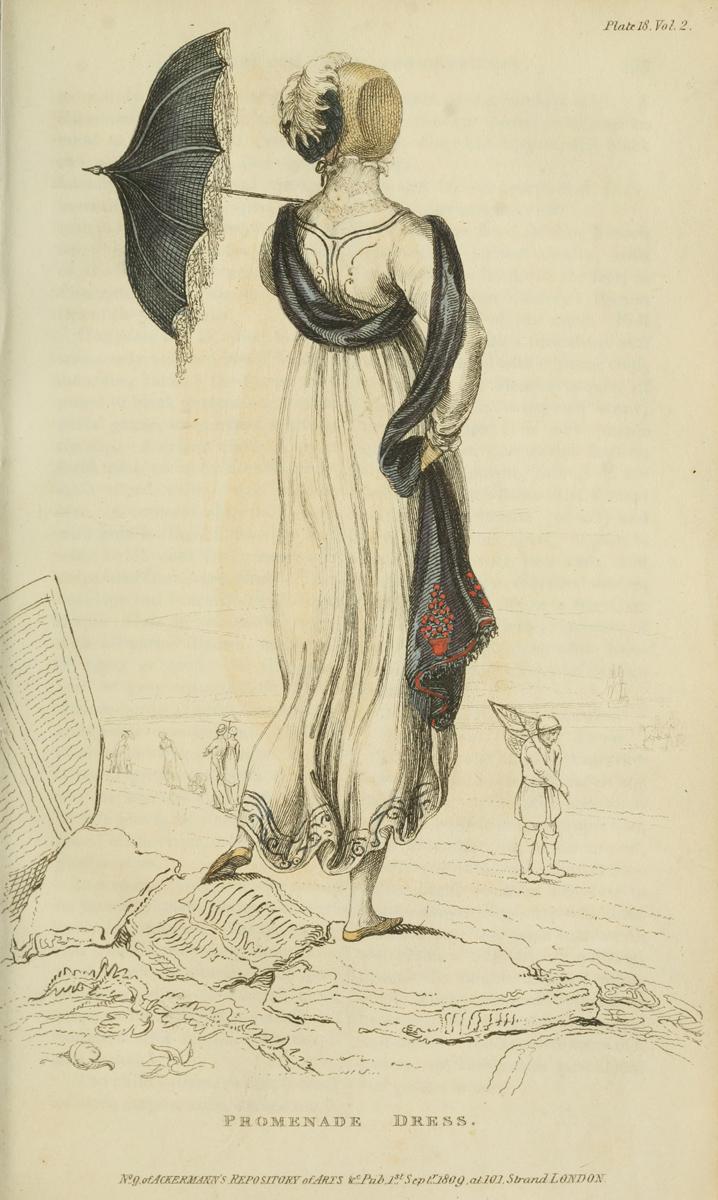 Seaside - 1809 v2 Ackermann's Fashion Plate 18 - Promenade Dress