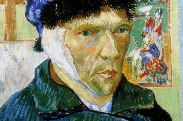 """""""ภาพตัวเองด้วยหูผ้าพันแผล"""" Arles, มกราคม 1889"""