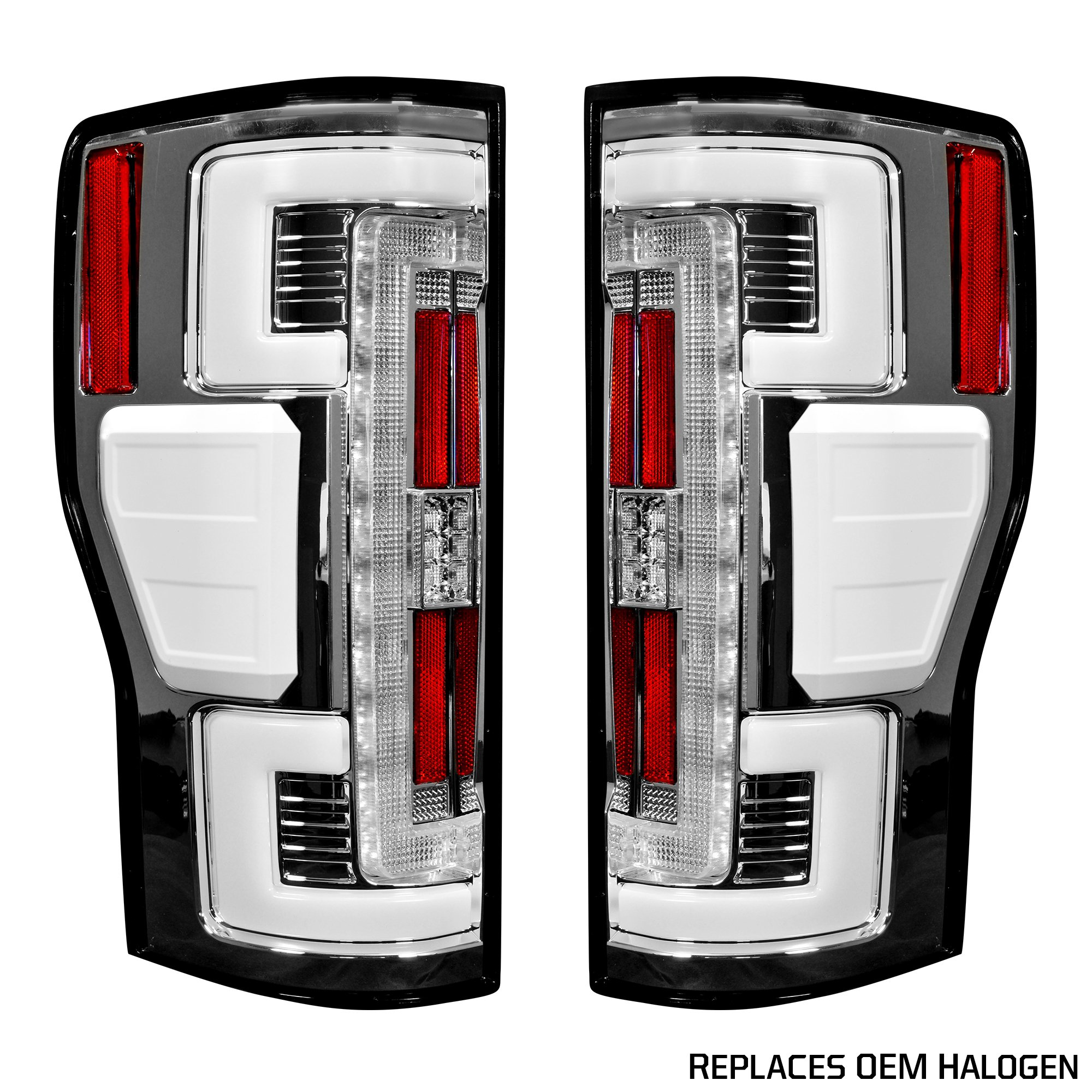 hight resolution of recon 264299cl ford superduty f250 350 450 550 17 19 replaces oem halogen style tail lights with or without blis blind spot warning system oled tail