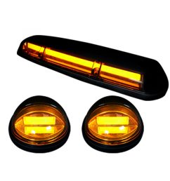 recon 264155amhp gmc chevy 02 07 1st gen classic body style heavy duty 3 piece set amber cab roof light lens with amber high power oled bar style  [ 2000 x 2000 Pixel ]