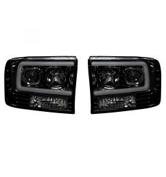 recon 264192bkc ford superduty 99 04 f250 f350 f450 f550 projector headlights w ultra high power smooth oled halos drl smoked black [ 2000 x 2000 Pixel ]