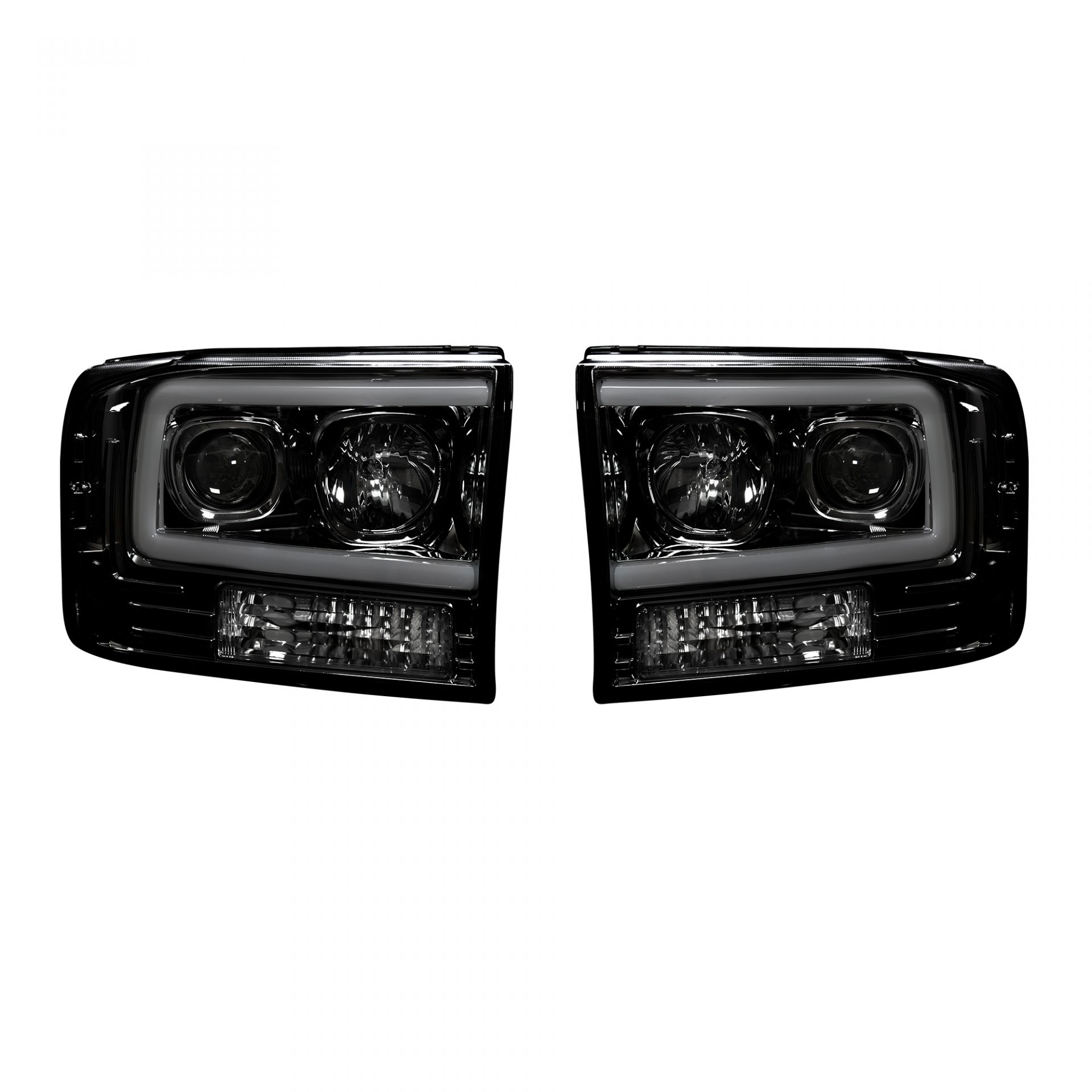 hight resolution of recon 264192bkc ford superduty 99 04 f250 f350 f450 f550 projector headlights w ultra high power smooth oled halos drl smoked black