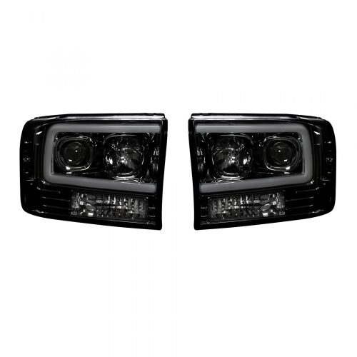 small resolution of recon 264192bkc ford superduty 99 04 f250 f350 f450 f550 projector headlights w ultra high power smooth oled halos drl smoked black