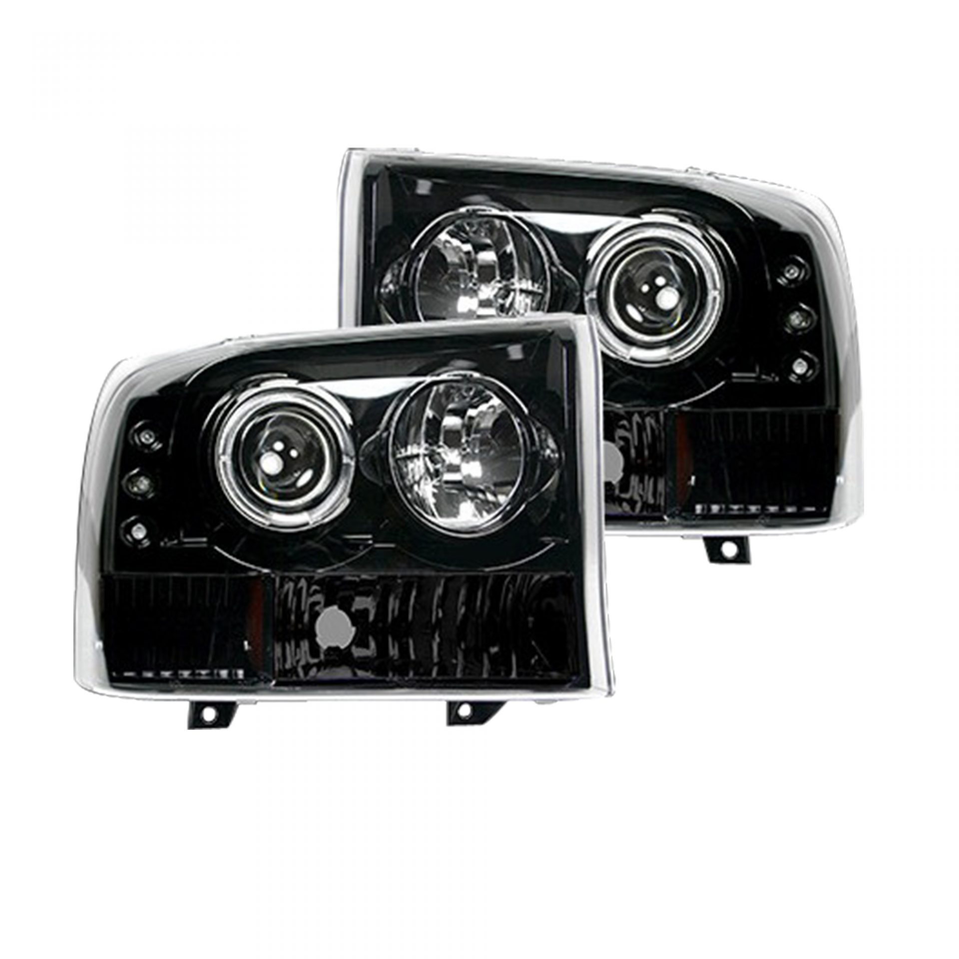 hight resolution of recon 264192bk ford superduty 99 04 f250 f350 f450 f550 projector headlights smoked black