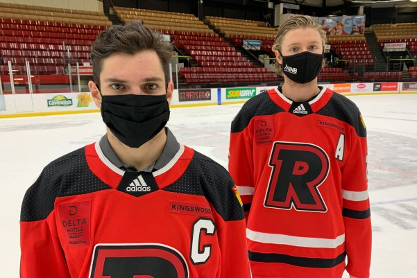 Forward Kris Bennett, left, and Oliver Cooper, have been named captain and associate captain of the Reds men's hockey team for the 2020-21 season. (PHOTO: Andy Campbell/UNB Athletics)