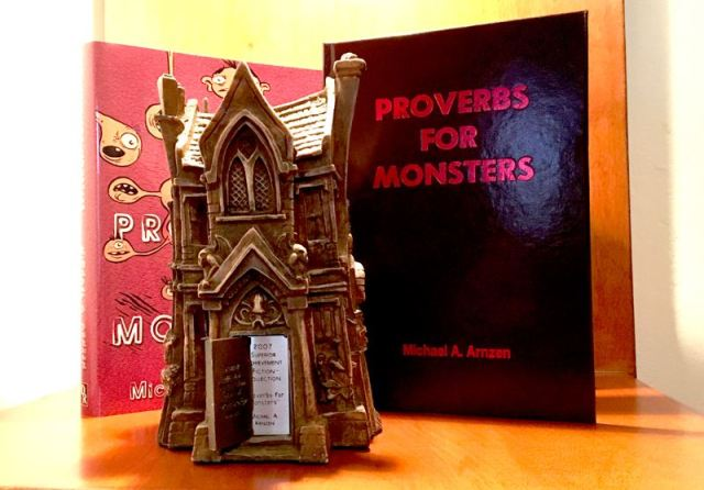 The limited edition Proverbs for Monsters is bound in dark red leather (like a bible or hymnbook), comes in a slipcase, has ribbon sewn in.