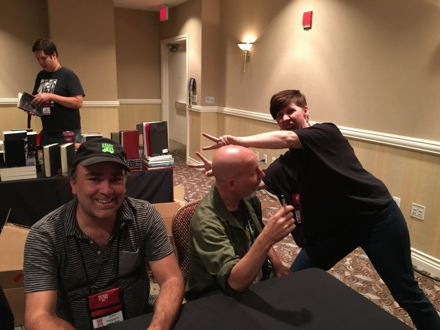 John Palisano at the Madhouse signing with John Skipp... photobombed!