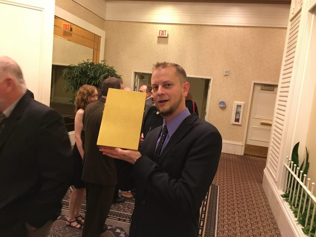 Michael Bailey won a Stoker and then sealed it in this nifty golden box!