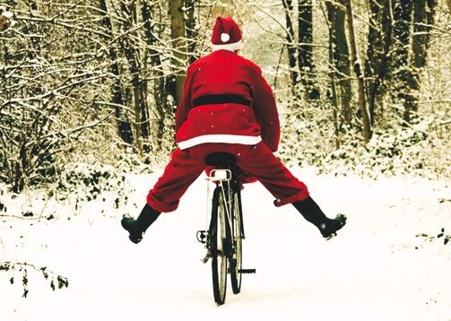 santa on a bike