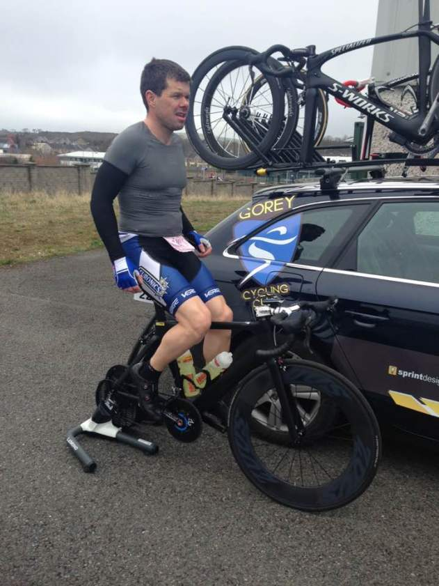 Joe Christian warming up before the start of The Gorey 3 Day