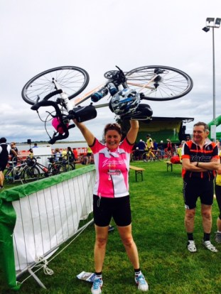 Annamarie after finishing the 2015 Sean Kelly Tour