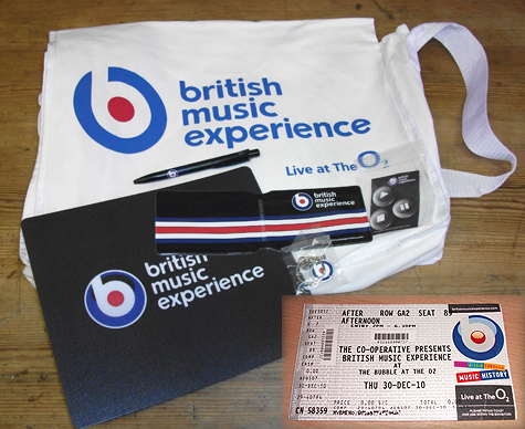 British Music Experience goody bag and smart ticket