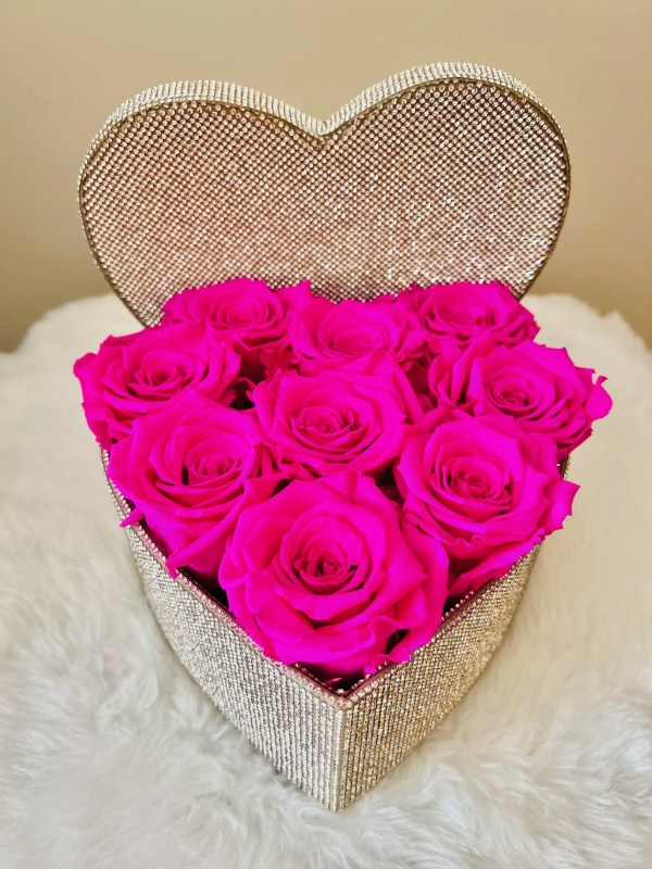 Crystals heart with roses