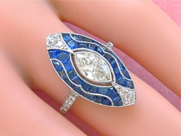 ESTATE ART DECO .63ct MARQUISE DIAMOND 2ctw SAPPHIRE PLATINUM COCKTAIL RING