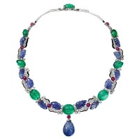 A Gorgeous Cartier Carved Sapphire and Emerald Necklace