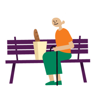 Cartoon illustration of an older caucasian woman sitting on a purple bench next to a bag of groceries with a baguette sticking out. She has white hair, an orange shirt, green pants and is holding a cane.