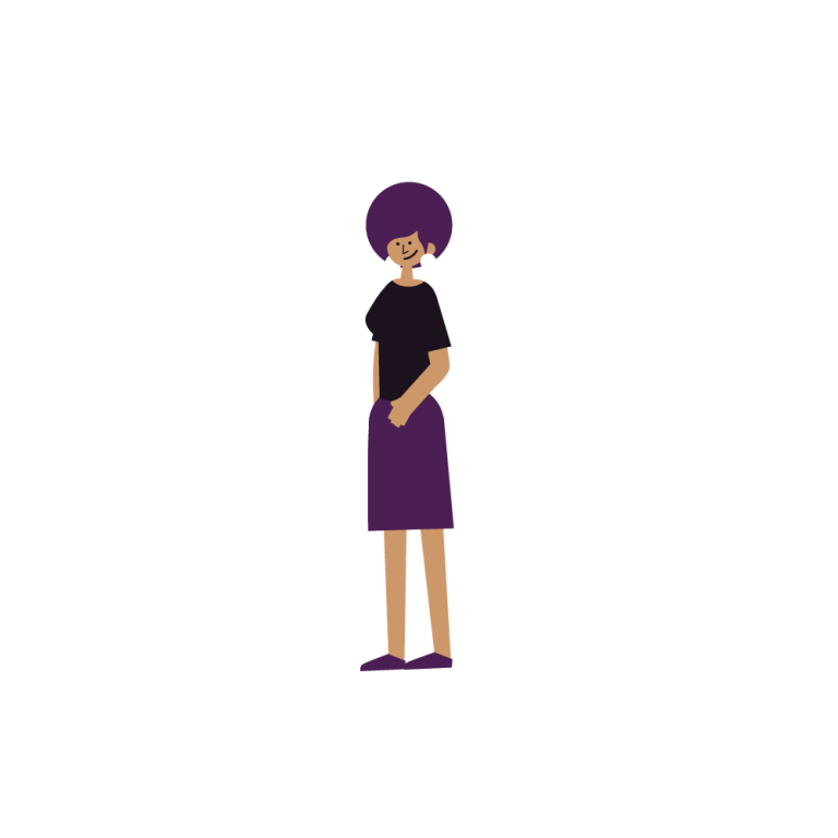 Cartoon illustration of a woman of color with purple hair wearing a black shirt and a purple skirt