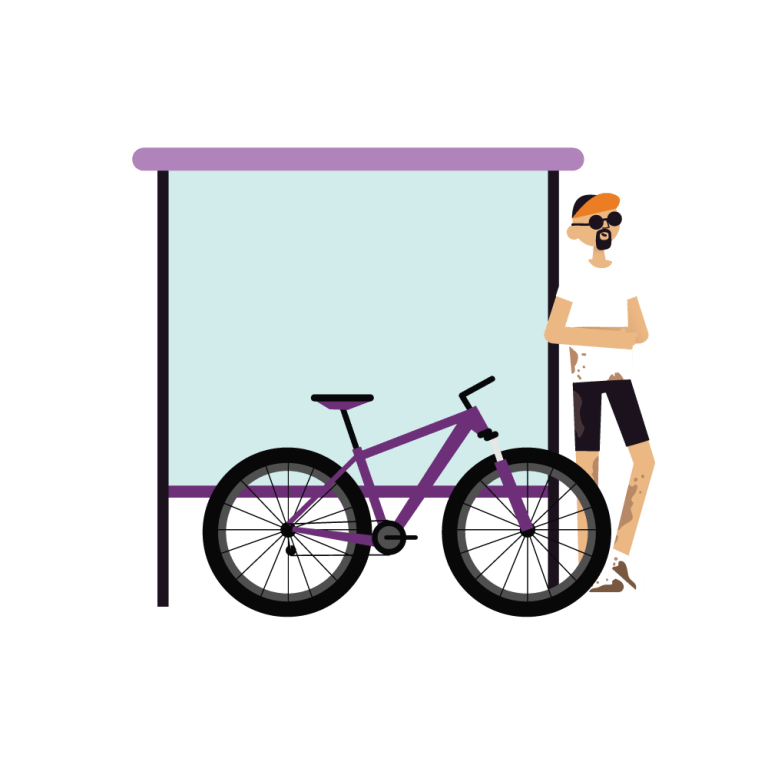 Cartoon illustration of a caucasian man leaning against a bus stop with a purple bike leaning beside him. He is wearing an orange bike hat, black sunglasses, a white tshirt and black bike shorts.