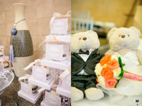 Wedding Favors by Tattycakes (left); Couple Bear Stuffed Toys (right)