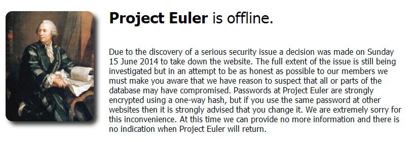Project Euler is down
