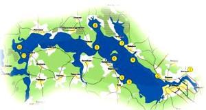 Схема рыбных мест на озере Волго