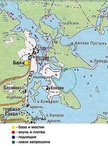 Карта рыбных мест на Селигере