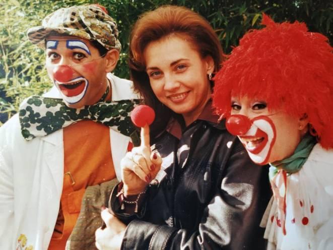Első bohócpárjával, Megyeri Marikával és Rost Andreával