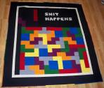 Tetris quilt Kona Cotton Solid Rainbow Shit Happens Nintendo Video Game Mario