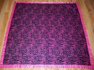 Fleece baby blanket quilt ribbon binding quick fast baby gift bright pink zebra stripe