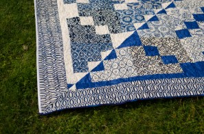 Blue and white beige batik quilt reversible inverted pattern finished quilt