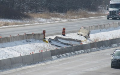 Consequences of Truck Crash Through Hwy 401 Median Barrier Generally Ignored