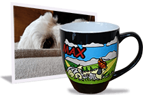 Personalized coffee mug of dog artwork beside original photo