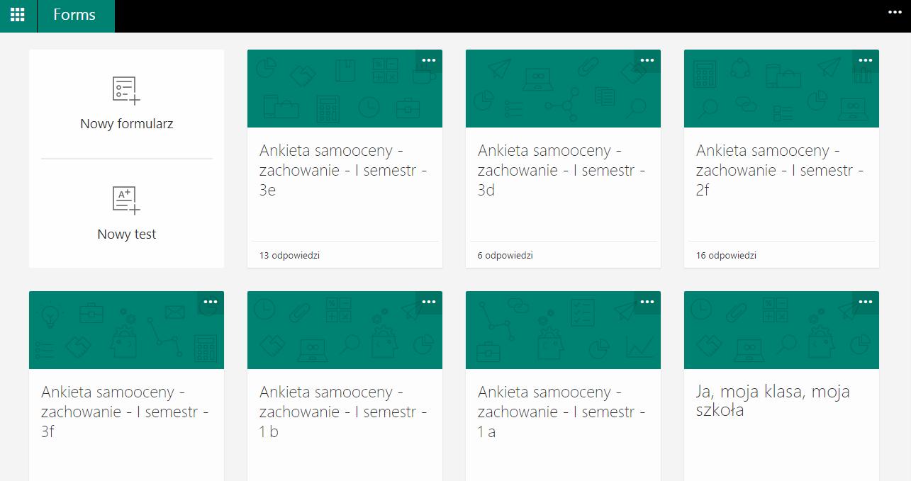 Szkoła w chmurze Microsoft – aplikacja Forms