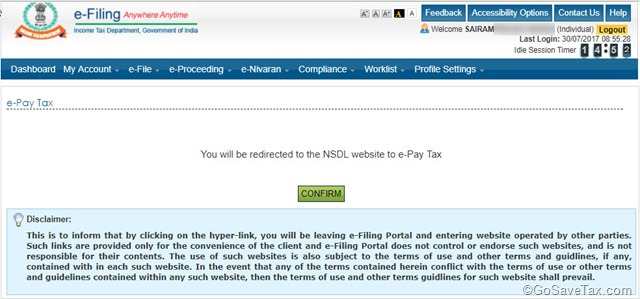 NSDL-e-Pay Tax Redirect in ITR E-Filing
