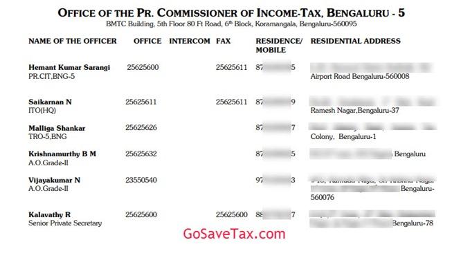 Principal Commissioner CIT-5 Bangalore Address