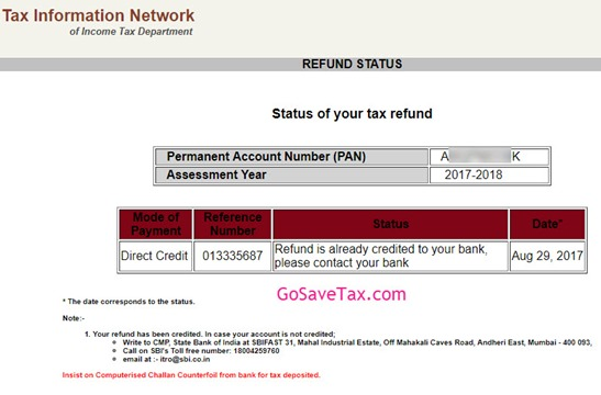 Income Tax Refund Credited Already