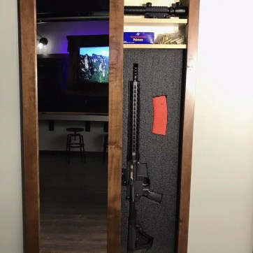 Walnut Secret Storage Mirror - Hidden Gun Safe