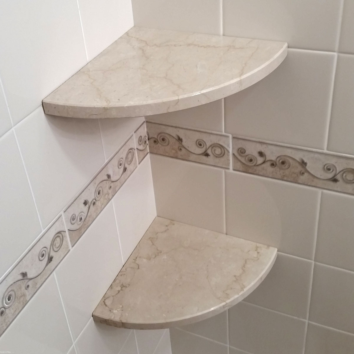 Gorgeous Travertine Corner Shower Shelf