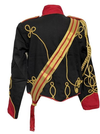 Men's Steampunk Ceremonial Hussar Military Officers Jacket. back
